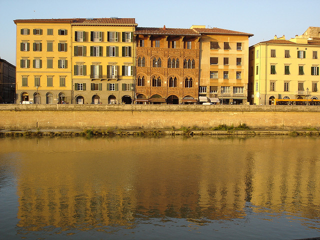 Shops along the River Arno in Pisa