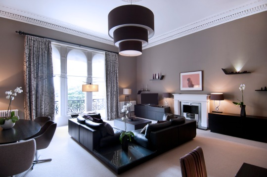 Living room in The Grand Suite at the Chester Residence, Edinburgh
